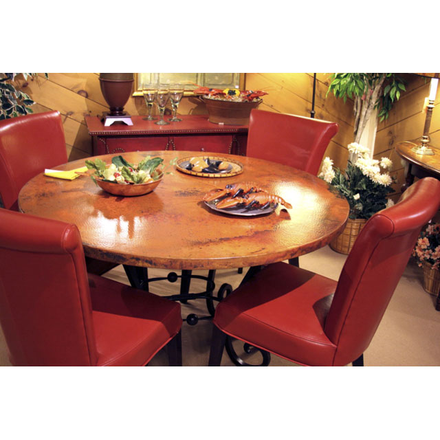 copper top dining table our 54 round copper top table with wrought