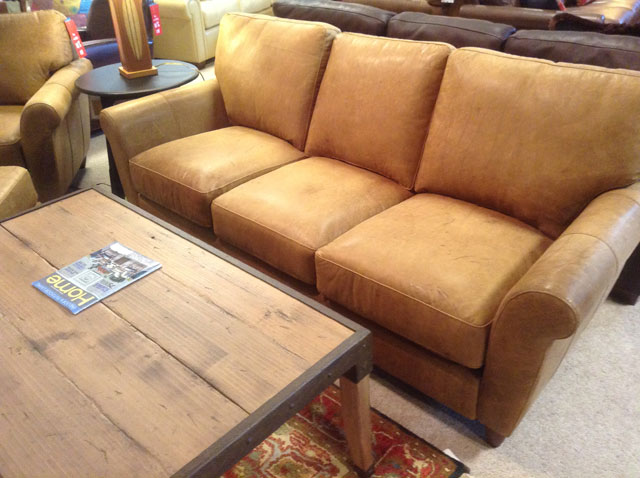 Town Country Vt Light Brown Leather Sofa